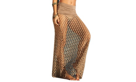 Ladies Brown Fishnet Beach Skirt Including Delivery