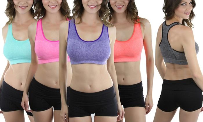 Women's Padded Space Dye Sports Bras (6-Pack)