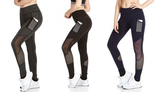 RAG Women's Active Mesh Legging with Phone Pocket. Plus Size Available
