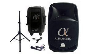 Alphasonik Wireless Bluetooth Amplified DJ Speaker with Stand and Mic