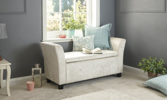 Crushed Velvet Ottoman or Window Seat from £74.99 (28% OFF)
