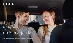 Uber: 9,99 zł zamiast 75 zł na 3 przejazdy z Uber – Warszawa, Wrocław, Poznań, Kraków, Łódź, Trójmiasto i Aglomeracja Śląska