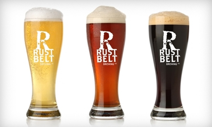 Rust Belt Brewing Company - Riverbend: $9 for Full-Menu Tasting, Logo Growler, and Logo Pint Glass at Rust Belt Brewing Company ($18 Value)