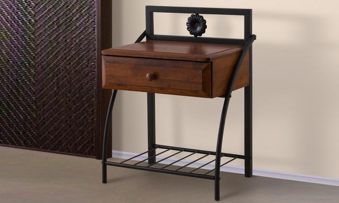Jevenci Bronze & Wood Nightstand