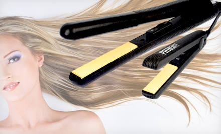 PHI Beauty Ceramic Flat Iron Set: Black Straighteners with Yellow Plates (a $150 value) - Ceramic Flat Iron Set in