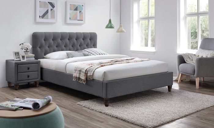 Melbourne Chesterfield Grey Fabric Bed Frame with Optional Orthopeadic Mattress