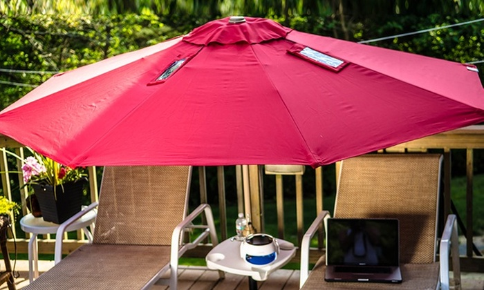 9u0027 Patio Umbrella With Solar Powered USB Charger: 9u0027 Patio Or Beach