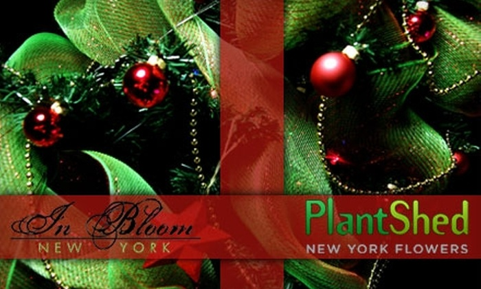 Holiday Décor and Christmas Trees at Plant Shed New York Flowers. Choose from Five Options.