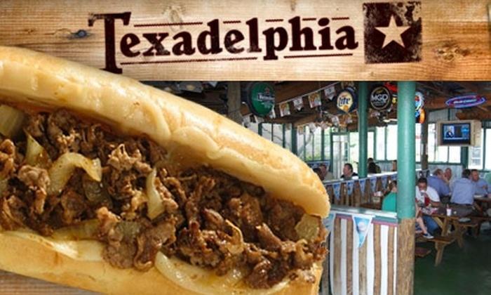 Texadelphia - Multiple Locations: $7 for $15 Worth of Texan Cheesesteak and More at Texadelphia