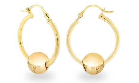 14K Solid Yellow Gold Hoop Earrings with Ball Slider