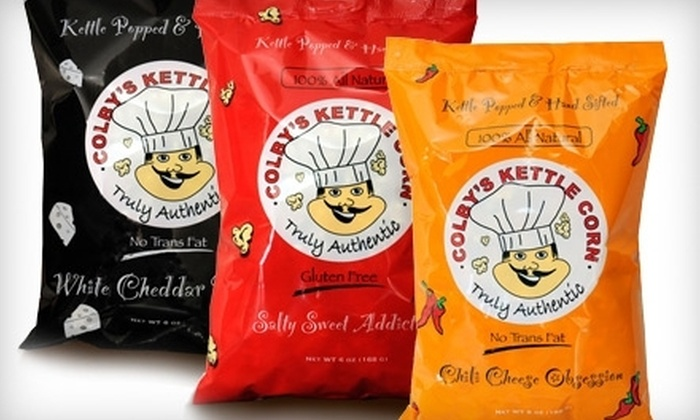 Colby's Kettle Corn: $22 for 12 Six-Ounce Bags of Popcorn With Shipping Included from Colby's Kettle Corn ($45 Value)