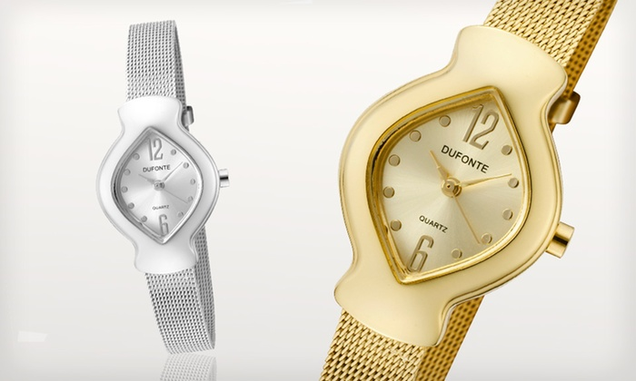 Women's Dufonte Rhombus Watches: $7.99 for a Women's Dufonte Rhombus Watch in Silver or Gold (Up to $135 List Price)