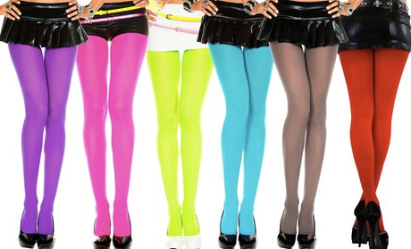Solid Color Opaque Nylon Tights in Regular and Plus Sizes