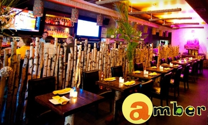 Half off sushi at amber amber groupon for Amber asian cuisine nyc