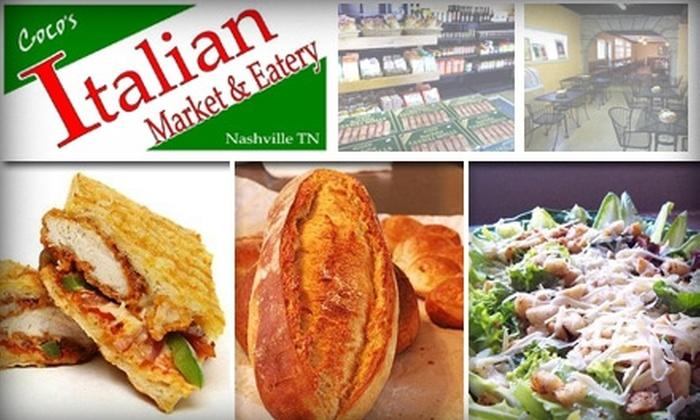 Coco's Italian Market & Eatery - Nashville-Davidson metropolitan government (balance): $9 for $20 Worth of Italian Dining at Coco's Italian Market & Eatery