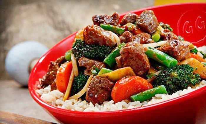 Genghis Grill–The Mongolian Stir Fry  - North Central: $14 for a Mongolian Stir-Fry with Build-Your-Own Bowl and Dessert for Two at Genghis Grill–The Mongolian Stir Fry (Up to $29.48 Value)