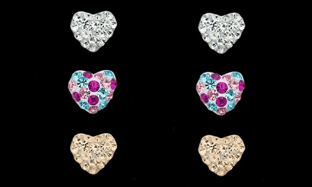 3-Pair Kid's 14K Gold Heart Stud Set Made with Swarovski Elements