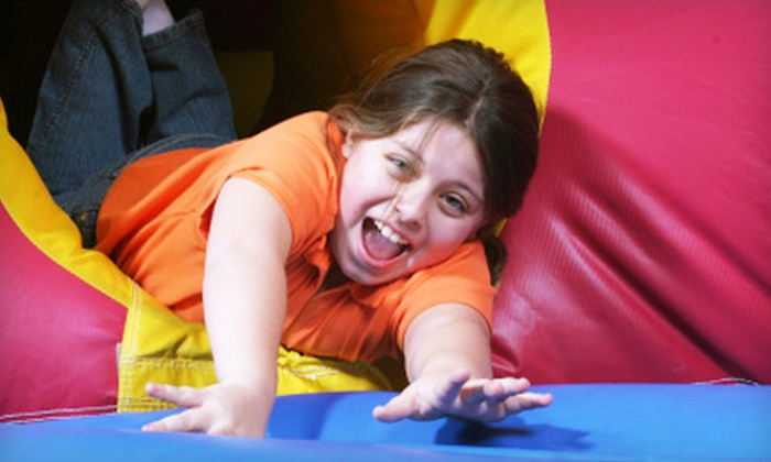 Run Jump-n-Play - Mason: Six-Visit Swing-Set Pass and Two Bounce Sessions for One or Two Children at Run Jump-n-Play in Mason