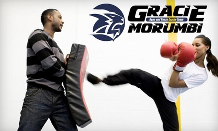 GRACIE MORUMBI BRAZILIAN JIU JITSU - Multiple Locations: $40 for a One-Month Kickboxing Class at Gracie Morumbi Brazilian Jiu-Jitsu ($80 Value)