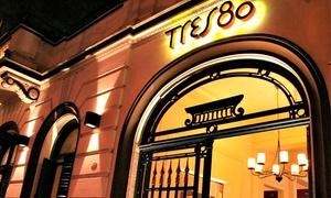 Tres80: Cena para dos o cuatro con entrada + plato principal + postre + copa de espumante en Tres80