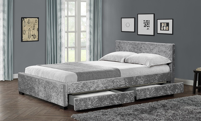Comet Velvet Bed Frame with Optional Memory Foam Mattress and LED