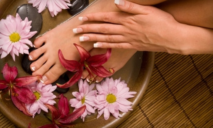 Burbank Spa and Garden - Burbank: $82 for a Classic Mani-Pedi and Deep-Tissue Massage with Sauna ($165 Value) at Burbank Spa and Garden