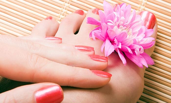 Ehmi Nail, Salon & Spa - Flower Mound: Organic Spa Manicure or Invigorating Mani with Organic Spa Pedi at Ehmi Nail, Salon & Spa in Flower Mound (Up to 49% Off)