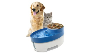 Automatic-flow Pet Water Purifier Fountain With Food Bowl