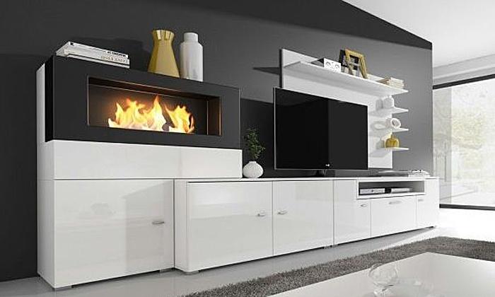 parete soggiorno con biocamino | groupon shopping - Immagini Soggiorno Moderno Con Camino 2
