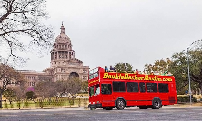 Double Decker Austin Tours - Downtown: Hop-On, Hop-Off Bus Tour for Two or Four from Double Decker Austin Tours (Up to 51% Off)