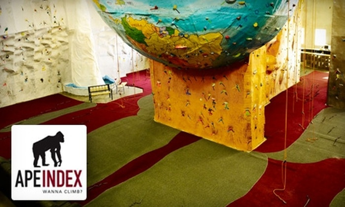 Ape Index - Reliance Loop: $10 for a Rock-Climbing Day Pass and Gear at Ape Index in Peoria ($20 Value)