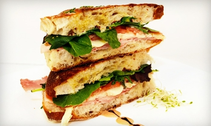 Milux Cafe - SoHo: $15 for Two Paninis and Two Coffees, Teas, Fresh Squeezed Juices, or Smoothies at Milux Cafe (Up to $38 Value)