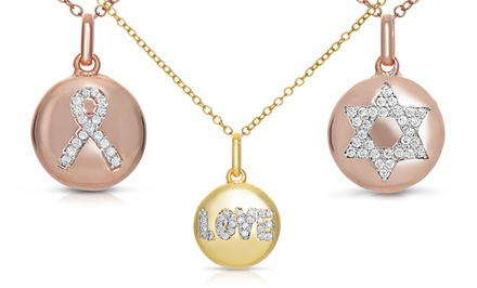 18K Gold and Rose Gold Over Sterling Silver Lab Created Diamond Symbol Pendants
