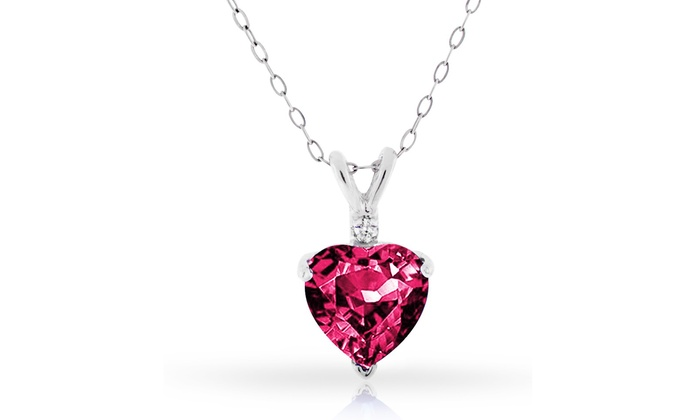 Ruby and diamond heart pendant groupon goods 400 ctw genuine diamond and ruby heart pendant in sterling silver mozeypictures Gallery