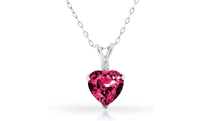 Ruby and diamond heart pendant groupon goods 400 ctw genuine diamond and ruby heart pendant in sterling silver 400 ctw genuine diamond aloadofball Gallery