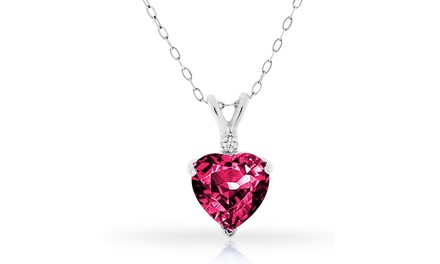 4.00 CTW Genuine Diamond and Ruby Heart Pendant in Sterling Silver
