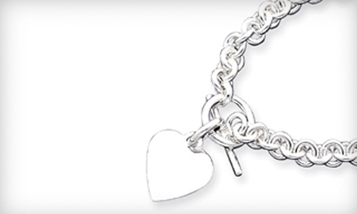 Shirin Diamond Center - Houston: Silver Bracelet or Necklace with Monogrammed Heart Charm at Shirin Diamond Center (Up to 76% Off)