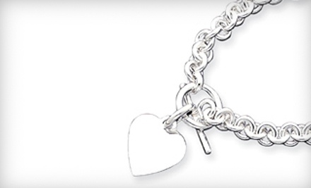 Silver-Toggle Bracelet with a Monogrammed Heart Charm (a $399 value) - Shirin Diamond Center in Houston