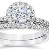 1.20 CTTW Pavé Diamond Halo Ring Set by Bliss Diamond