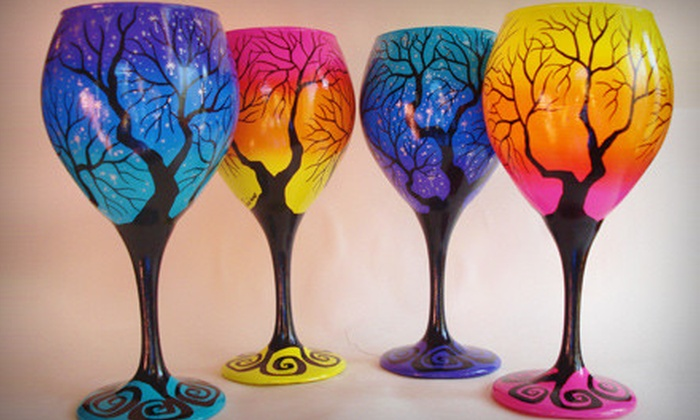 Wine Me? - Lopatcong: $149 for a Set of Four Hand-Painted Wineglasses from Wine Me? ($300 value)