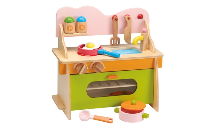 Wooden kitchen play set groupon goods for Kitchen set offers
