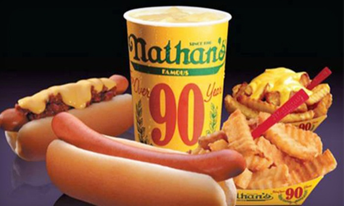 Nathan's Famous - Airdrie: $8 for Hot Dog Meal for Two at Nathan's Famous in Airdrie ($15.36 Value)