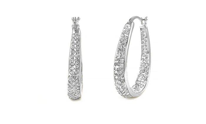Crystal Hoop Earrings With Swarovski Elements