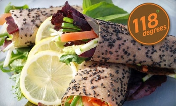118 Degrees - Costa Mesa: $20 for $45 Worth of Organic Cuisine and Drinks or $59 for 10 Pre-Prepared Organic Meals ($125 Value) at 118 Degrees