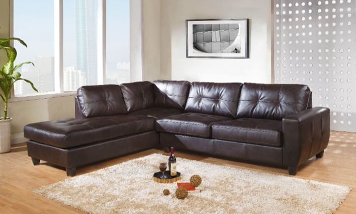 Athens Leather Corner Sofa In Black Or Brown For £499 With Free Delivery (50% Off)