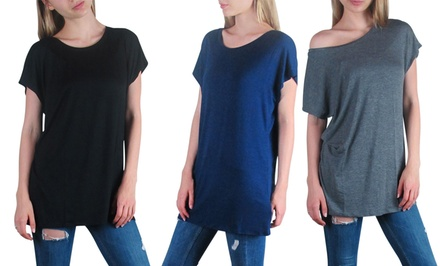 Free to Live Women's Kimono-Sleeve Tunic 3-Pack in Assorted Colors