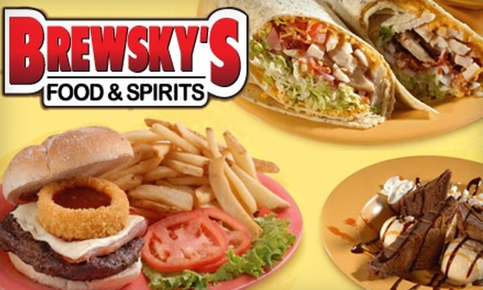 Brewsky's Food and Spirits - Multiple Locations: $20 for $40 Worth of Pub Fare and Beverages at Brewsky's Food & Spirits