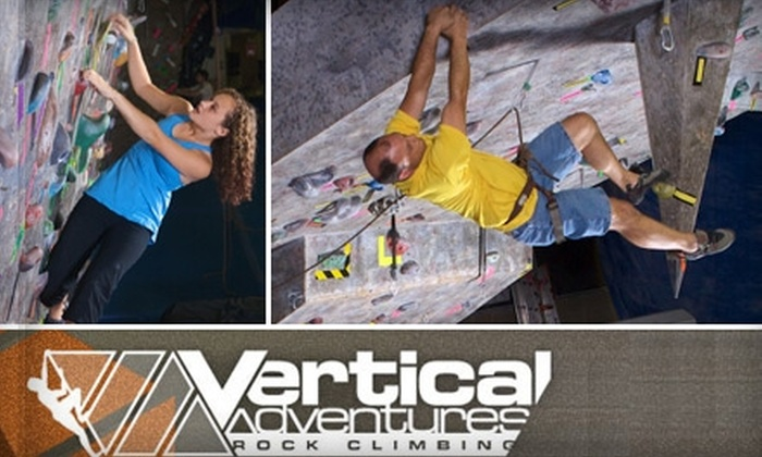 Vertical Adventures - Busch: $20 for an Introductory Climbing Class and a One-Month Pass at Vertical Adventures ($70 Value)