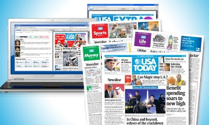 """<i>USA Today</i> - Multiple Locations: $12 for 12-Week Subscription ($45 Value) or $49 for a 26-Week Subscription ($97.50 Value) to """"USA Today"""""""