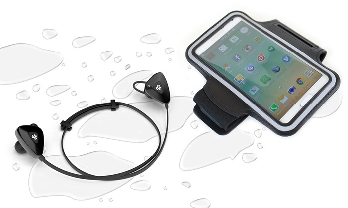 jlab water resistant sport bluetooth earbuds and armband groupon. Black Bedroom Furniture Sets. Home Design Ideas
